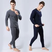 Wholesale Hot Men Thermal Underwear Set Inner Wear Undershirt Long Pants Warm Tops Full Outfit