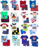 batman sleepwear - Boy kids short pajama set baby superman pajamas batman sleepwear kids short clothes set kids short sleeve pajamas