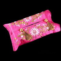 Wholesale Ribbon Embroidery Wedding Tissue Box Cover for Home Car Chinese style Rectangle Satin Fabric Tassel Pocket Facial Tissue Cover Kleenex Case