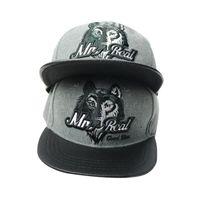 Cheap Autumn Winter New Fashion Wolf Head Embroidery Letter Baseball Caps Hip hop Cap Leather Flat Brim Hats For Men Women Snapback