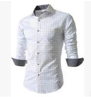 Wholesale New fashion men clothes long sleeve plaid men slim shirt spring autumn cusual large size male shirt