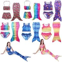 Wholesale 2016 Summer New Baby Girls Beach Mermaid Tail Swimwear Bikinis Cartoon Colors Sets Swimming Suit swimsuit T Swim Clothing