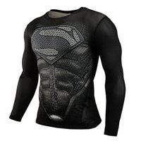 Wholesale 2016 neue Sport Fitness Kompression Shirt Männer Superman bodybuilding langarm t shirt D Gym Crossfit Running Tops Shirts