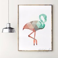 Wholesale Geometric Coral Flamingo Canvas Art Print Poste Wall Pictures for Home Decoration Frame not include