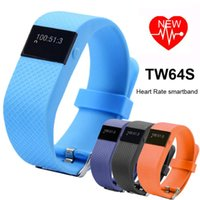 Wholesale 2016 TW64S Waterproof Wristband Heart Rate Monitor Pulse tracker Smartband OLED Waterproof Bracelet with Pedometer DHL Free OTH229