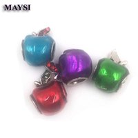 Wholesale 100 New Jewelry Mix Color Enamel Beads Bijoux Apples Crystal Bead Charms Fit Bracelets Best Berloques c