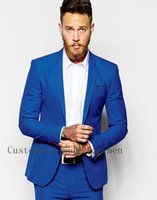 Wholesale New Fashion High Quality Men Business Suits With Pants Jacket Groom Suit Blue Mens Suits Wedding Groom Tuxedos For Men