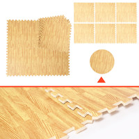 Wholesale 48 Sq Ft Foam Floor Interlocking Mat Show Floor Gym Mat Wood Color