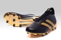 best soccer boots - 2016 latest Ace Pure Control FG PogBOOM black gold Mens football boots limited edition soccer shoes best Top soccer cleats