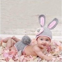 beanie baby rabbit - Grey Bunny Hand Knitted Rabbit newborn handmade crochet Toddler infant baby boy prince Beanie suits photography props hats caps Costume outf