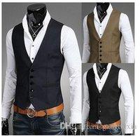 Wholesale Men Vests Outerwear Casual Man Casual Suits Slim Fit Stylish Short Coats Suit Blazer Jackets Coats Korean wedding Mens V neck vest