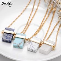Wholesale Natural Stone Crystal Quartz Gemstone Pendant Necklace Gold Plated Cube Pendant Necklaces Kendra Scott Stone Jewelry Cristal Jewellry