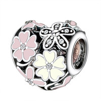 Wholesale Sterling Silver Charms Poetic Blooms Enamel CZ European Charm Beads Fit Snake Chain Bracelet DIY Original Jewelry