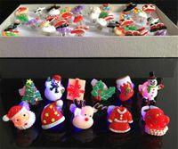 Wholesale Children led flash ring children Christmas LED flicker light cartoon ring Christmas gifts toys Santa Claus deer snowman socks