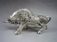 Wholesale Collectible Decorated Old Handwork Miao Silver Carve Bull Kylin Statue