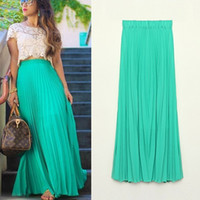 Wholesale Women Long Chiffon Skirts cm Candy Color Pleated Maxi Womens Skirts Size S L W3374
