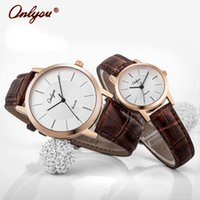 Wholesale ONLYOU Lovers Leather Buckle Watches Luxury Round Dial Alloy Analog Waterproof Quartz Wristwatches Military Business Casual Watch
