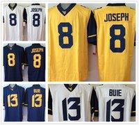 west virginia - West Virginia Mountaineers Jersey Football Ncaa College Karl Joseph Andrew Buie Jerseys White Blue Yellow