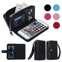Wholesale Cell Phone Cases Pockets - For iPhone 7 6 Plus Detachable Leather Wallet Case Removable Purse Pouch Flip Card Back Cover Zipper Cell Phone Soft Gel Cases iphone7