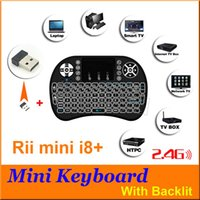 Wholesale DHL Free Rii Mini i8 plus Fly Air Mouse Wireless with backlit Air Mouse Keyboard Touchpad Remote Control Flymouse For TV BOX MINI PC MXQ