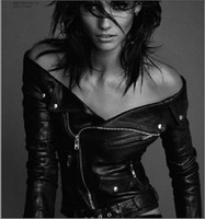 Wholesale 2016 spring black turn down collar off shoulder zipper woman coats motorcycle sexy slim biker faux leather