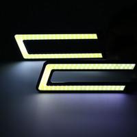 Wholesale New Update Super Bright Xenon White COB Chip LED Daytime Running Light COB LED DRL Driving Fog Light Lamp