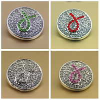 Wholesale Noosa buttons color snap press for noosa leather DIY bracelets gifts crystal Pink Ribbon Breast Cancer Awareness Snaps Buttons