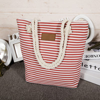 Wholesale Classical Women Ladies Fashion Stripes Canvas Shoulder Bag New Hot Messenger Bag Summer Beach Handbag Bags Totes Bolsa Feminina