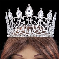 Wholesale Silver Big Rhinestones Baroque Hair Accessories for Women Wedding Tiaras and Crowns Head Piece Barretts Crystal