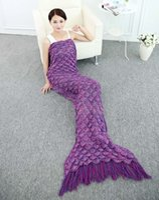 Wholesale Crochet Mermaid Tail Blanket Super Soft Warmer Blanket Bed Sleeping Costume Air condition Knit Blanket Autumn Winter