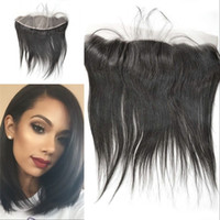 Wholesale Silk Base Frontal A Mongolian Human Hair Straight Silk Lace Frontal With Baby Hair Bleached Knots