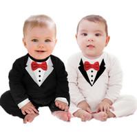 baby tuxedo suits - Newborn Boy Baby Formal Suit Tuxedo Romper Pants Jumpsuit Gentleman Clothes for infant baby romper jumpsuits M