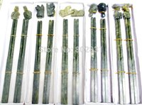 Wholesale 10Pair Rare Chinese Beautiful Jade Carved Art Chopsticks Chopsticks rack