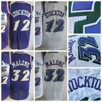 alternate jerseys - Men Retro Karl Malone Jersey Uniform Rev New Material John Stockton Throwback Shirt Breathable Home Alternate Purple White