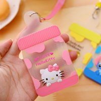 bank rope - Cute Feeding Bottle Shaped Cartoon Animals Silicone Card Cover Bus Bank Id Card Case Holder with Rope