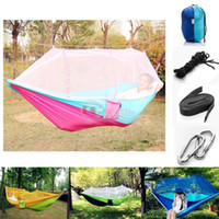 aluminum stake - Double Hammock With Mosquito Net Camping Survival Mosquito Net Hammock Parachute Cloth Portable HAMMOCK CM