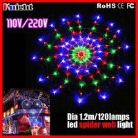 Wholesale COLORFUL m Cobweb lamp leds UL spider web lights RGB christmas tree decr ourdoor wall decration web light laps net light a