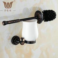 bathroom vanity accessories - Twin Flowers Series Carving Black Brass Toilet Brush Holders Bathroom Accessories Cup Holder Toilet Vanity