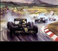 Coche de carreras enmarcado del mundo F1, pintura al óleo pintada a mano genuina del arte en lona de la alta calidad, tamaño modificado para requisitos particulares multi Disponible