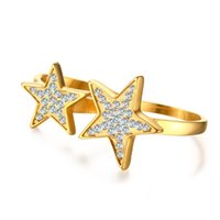 band start - ORSA Jewelry Start Cut Fashion Ring with Clear Rhinestones Two in One Stainless Steel Ring For Woman Gold Ring OTR272