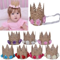 baby wearing newborn - Hug Me Girl s Head Accessories Newborn Baby Hairband Princess Queen Lace Tiara Hair Band Headband Kids Elastic Flower Crown Head wear ER