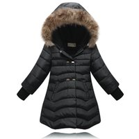 Wholesale New Arrival Fashion Girl Winter Long Warm Fur Collar Duck Down Jacket Girls Parkas Hooded Coat Outdoor Jacket Years