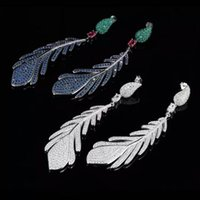 Wholesale Luxury high end earrings Fashion design exaggerated S925 pure silver with diamond pendant earrings feathers