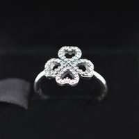 Wholesale Valentine s Day Petals of Love Heart Rings for Women Sterling Silver AAA CZ Pave Lucky Four Leaf Clover Rings