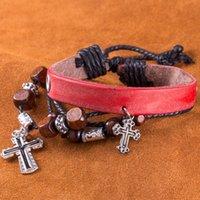 al por mayor pulsera de cuero f-Estilo retro hecho a mano de cuero genuino pulseras de múltiples capas brazalete unisex moda joyería cruz encantos pulseras FSH092-F rojo