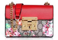 big gold crosses - European and American fashion chain of small square package printing big handbags classic shoulder messenger bag presbyop