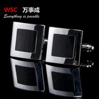 Wholesale high quality Black Enamel Silver Tone Square Shirt Cuff Cuff links for Wedding Best Man Usher