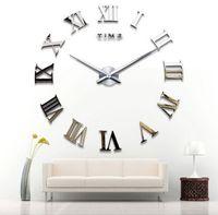 antique mirror clock - classic rome number fashion wall clock creative clock home decoration diy wall clock acrylic mirror wall clock stickers