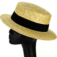 accent belt - New wheat Straw flat top cap Fedora Trilby Boater Hat with black belt accent wide brim hats
