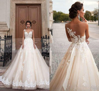 Wholesale Vestidos de novia White Lace Appliques Wedding Dresses A Line Floor Length Party Wedding Gowns Sexy Sheer Back Bridal Gowns With Bow